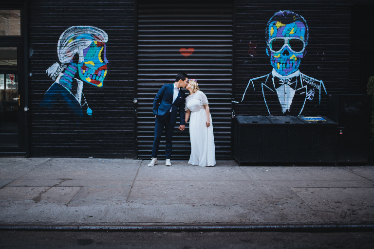 Wedding couple kissing while they elope in NYC