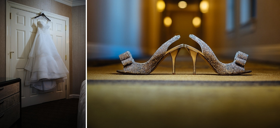 Detail photo of wedding dress and shoes