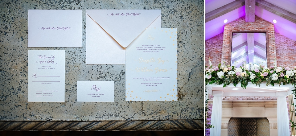 Long Island wedding detail photo of invitation suite and chuppah