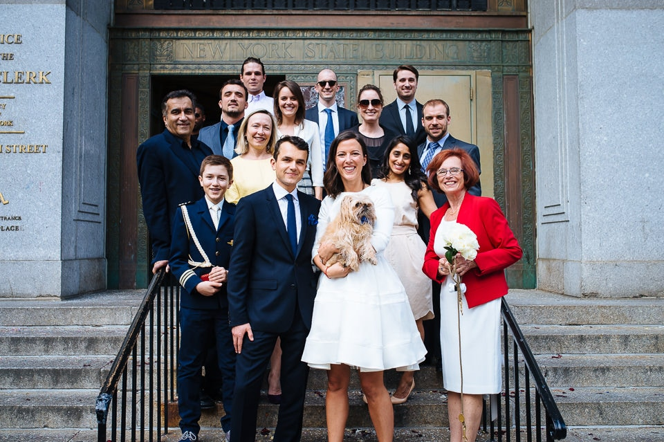 New York City Hall wedding group photo