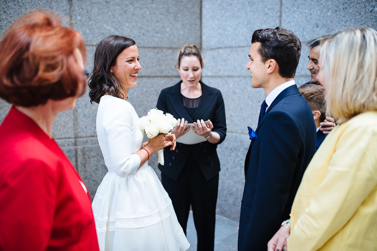 Downtown New York City outdoor wedding ceremony