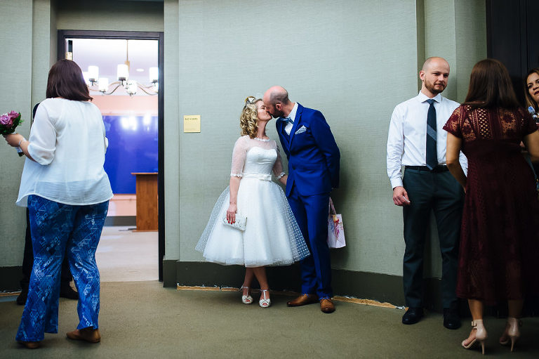 Wedding couple before they enter their City Hall ceremony