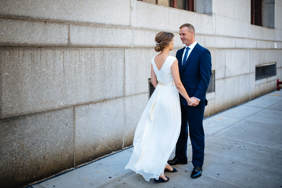 NYC elopement photographer, first look at City Hall