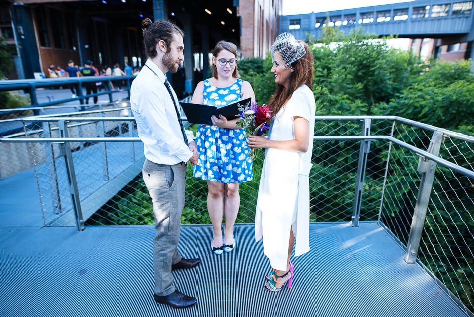 Bride and groom on the High Line for their ceremony