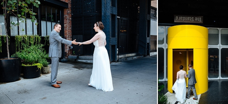 Bride and groom see each other for the first time in their wedding attire