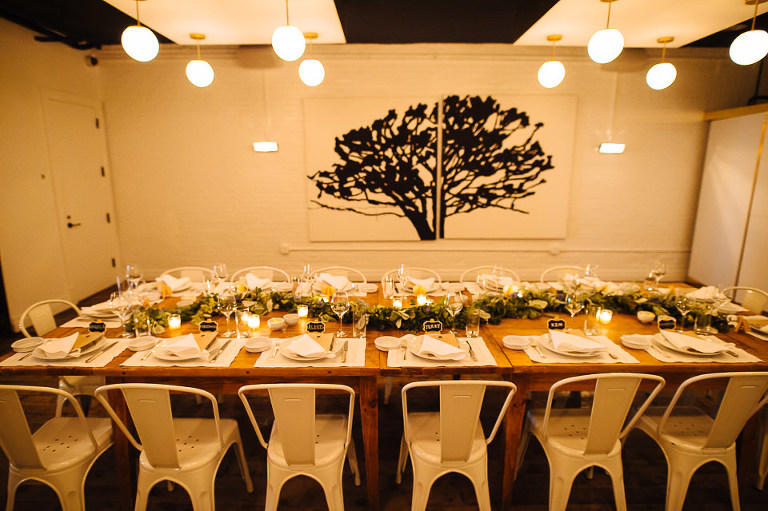Intimate wedding reception table at Haven's Kitchen