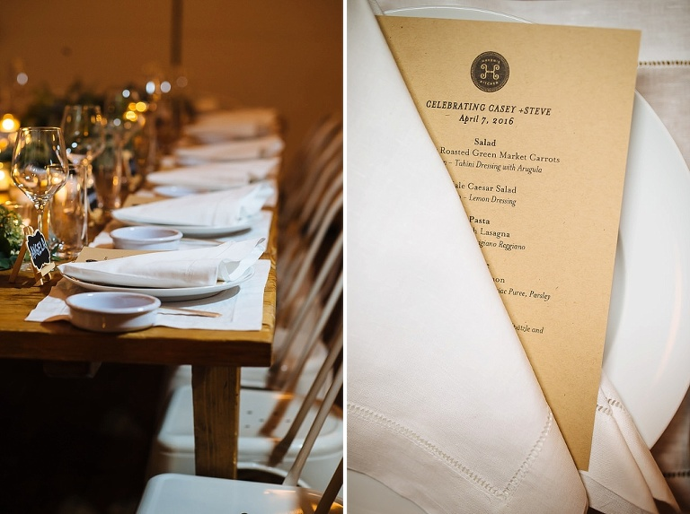 Intimate wedding reception details at Haven's Kitchen in NYC