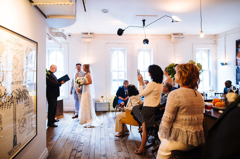 Intimate wedding ceremony at Haven's Kitchen in NYC