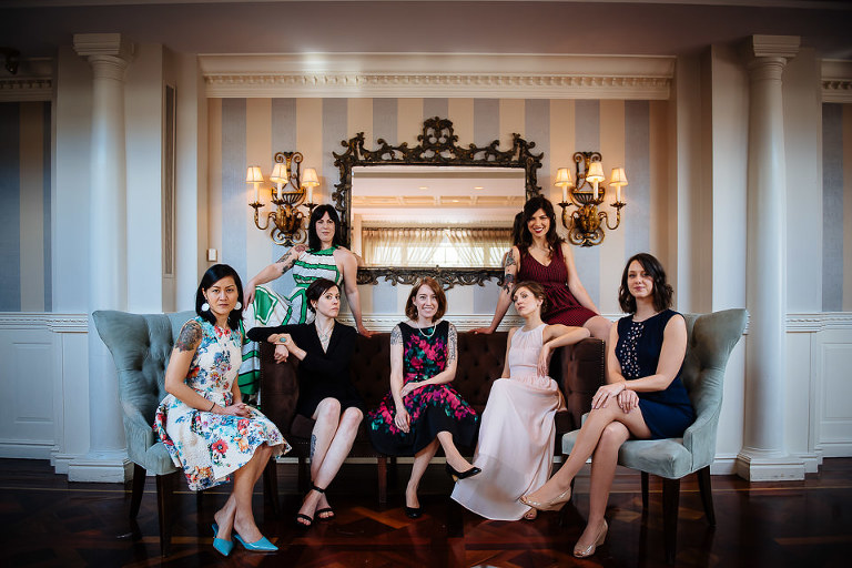 Female wedding guests Vanity Fair group photo