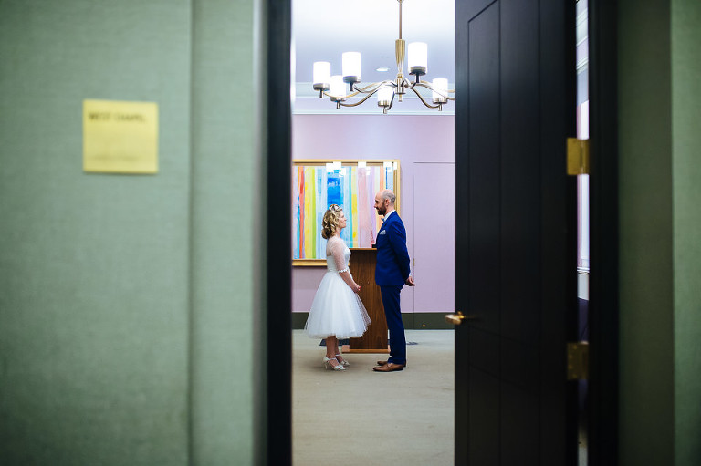 Bride and groom waiting in ceremony room