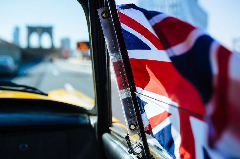 British flag in Checker cab window
