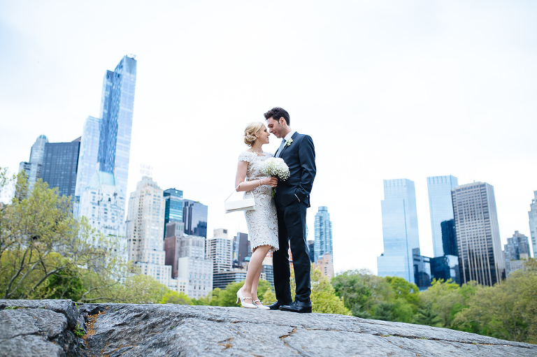 Bride and groom with NYC skyline in the background