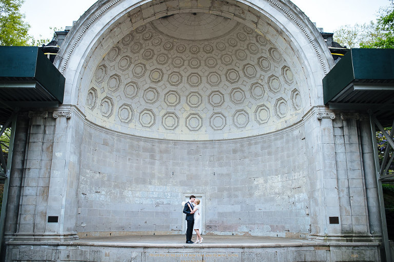 Bride and groom inside the Naumburg Bandshell