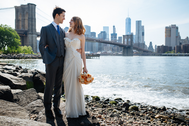 Wedding couple on the Brooklyn waterfront
