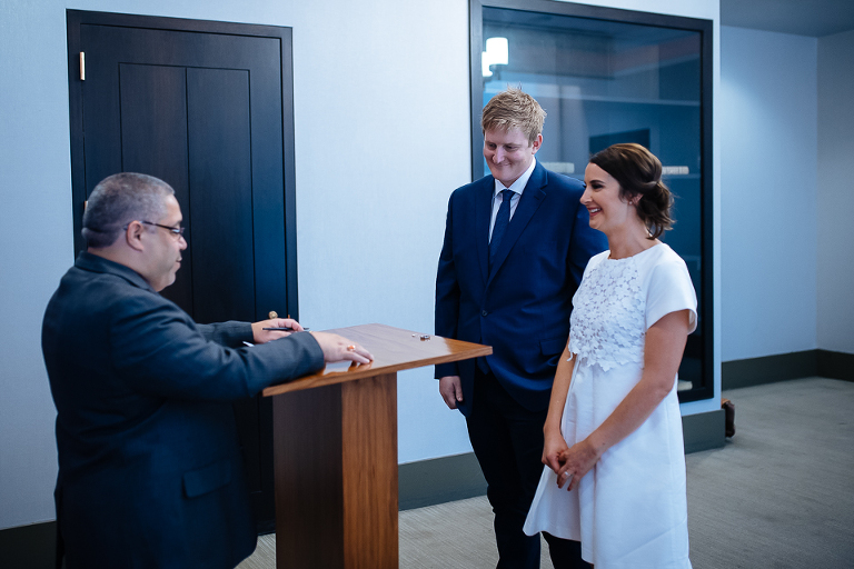 City Hall officiant performing marriage