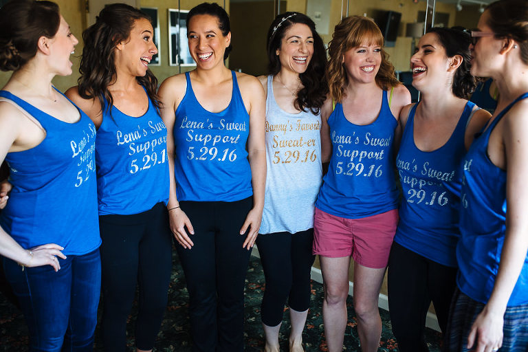 Bride with her bridesmaids in matching shirts