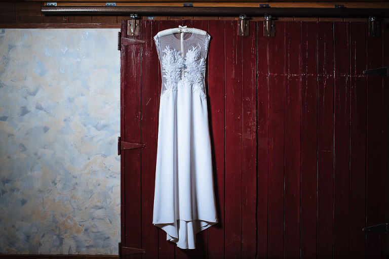 The bride's wedding dress was designed by her brother
