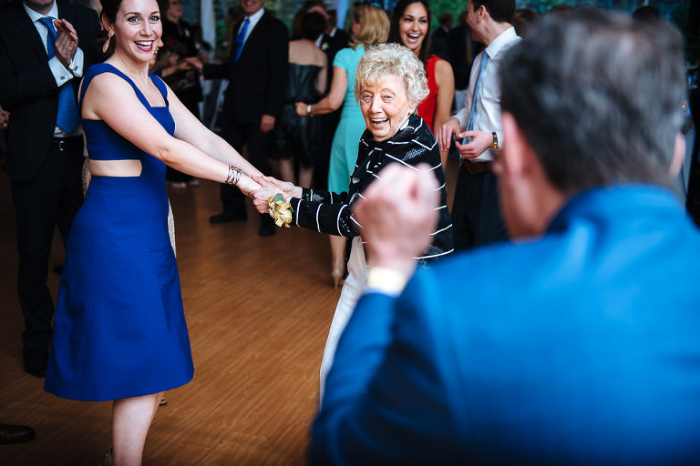 Grandma reacting to the dance floor fun