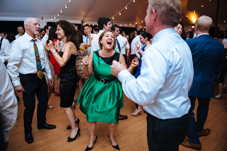 Wedding guest getting rowdy on the dance floor