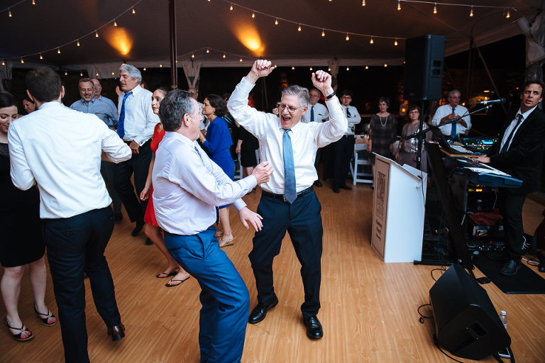 Father of the groom showing his dance moves off