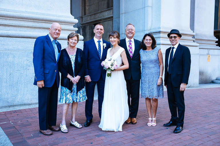 Wedding party portrait outside City Hall