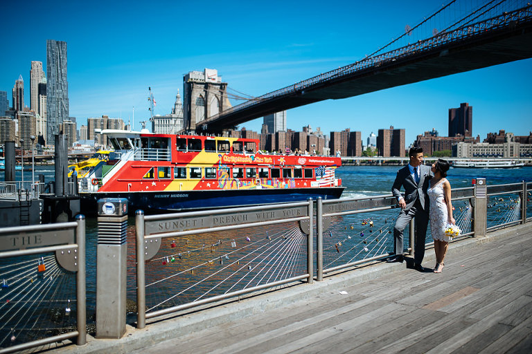 DUMBO wedding photographer, bride and groom at Brooklyn Bridge Park