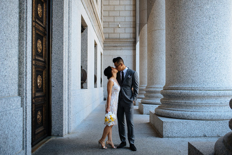 Wedding couple in downtown Manhattan