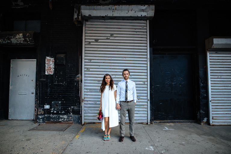 Serious portrait of bride and groom in the Meatpacking District