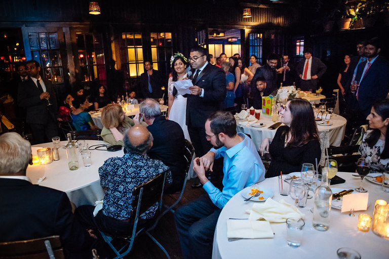 Wedding couple speech to their guests at The Park restaurant