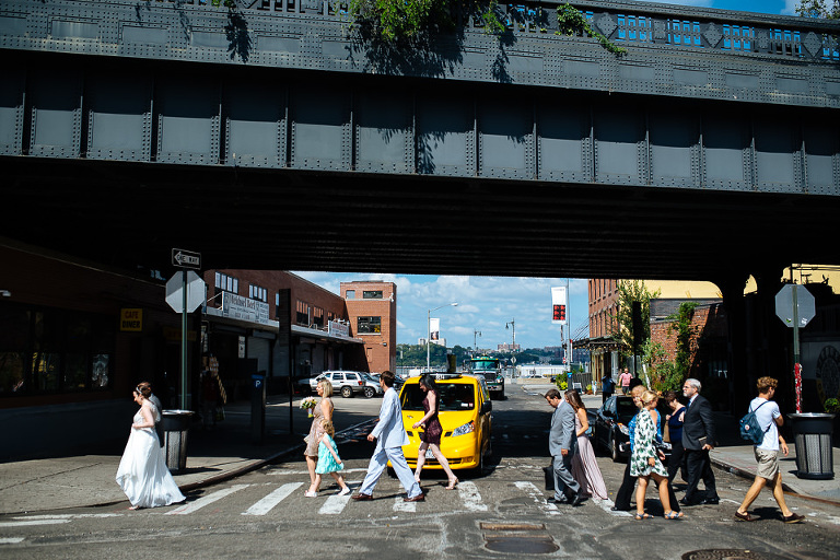 The wedding party and guests migrate to the High Line