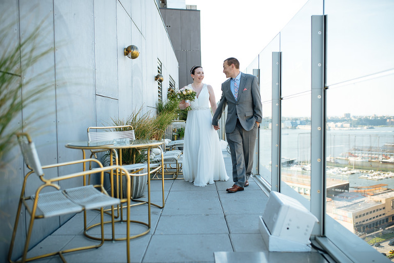 Bride and groom on top of the Standard Hotel