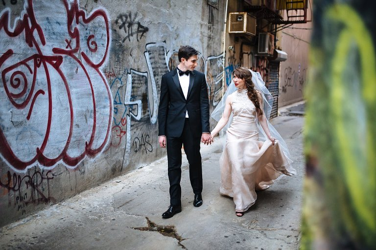 Exploring NYC in an Alexander McQueen bridal gown for elopement portraits