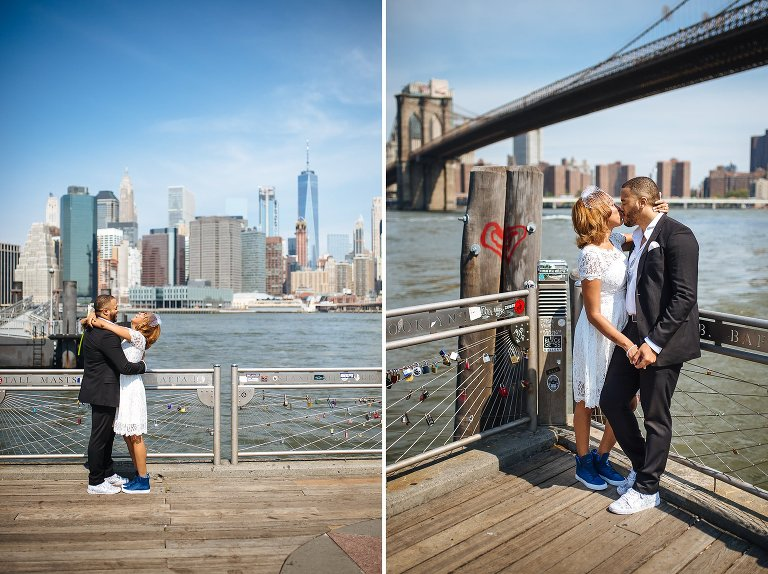 Wedding portraits in DUMBO are always amazing, such great views of the skyline and Brooklyn Bridge