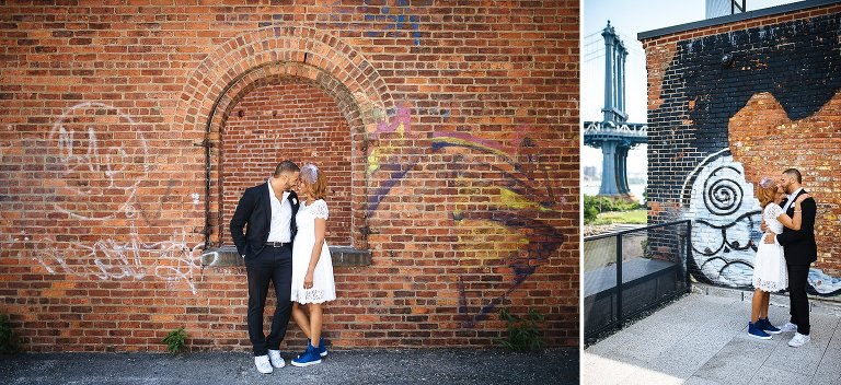 DUMBO has such wonderful architecture for wedding photos, including views of the Manhattan Bridge