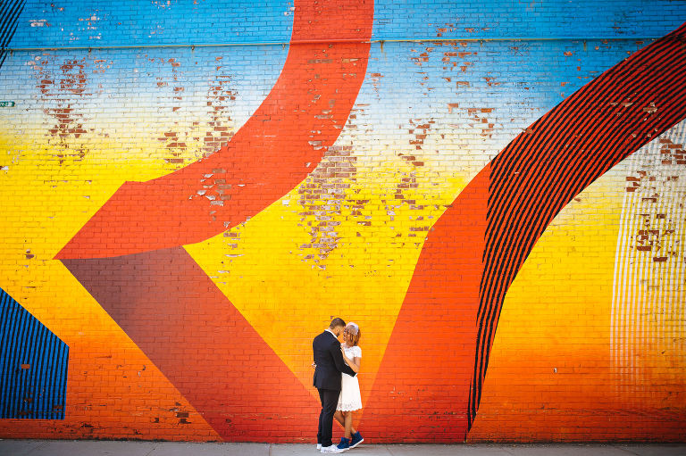 The wedding photos in DUMBO Brooklyn included this awesome graffiti wall