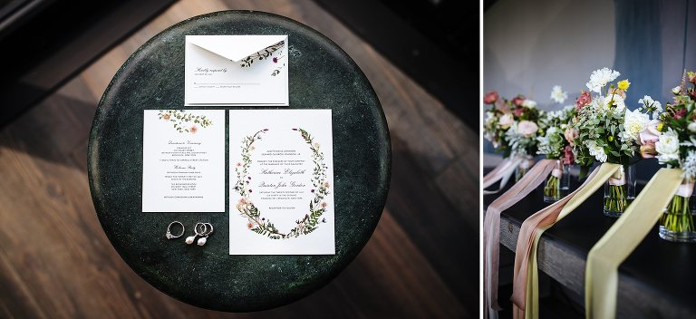 Detail photos of the wedding invitation suite and bridal party bouquets