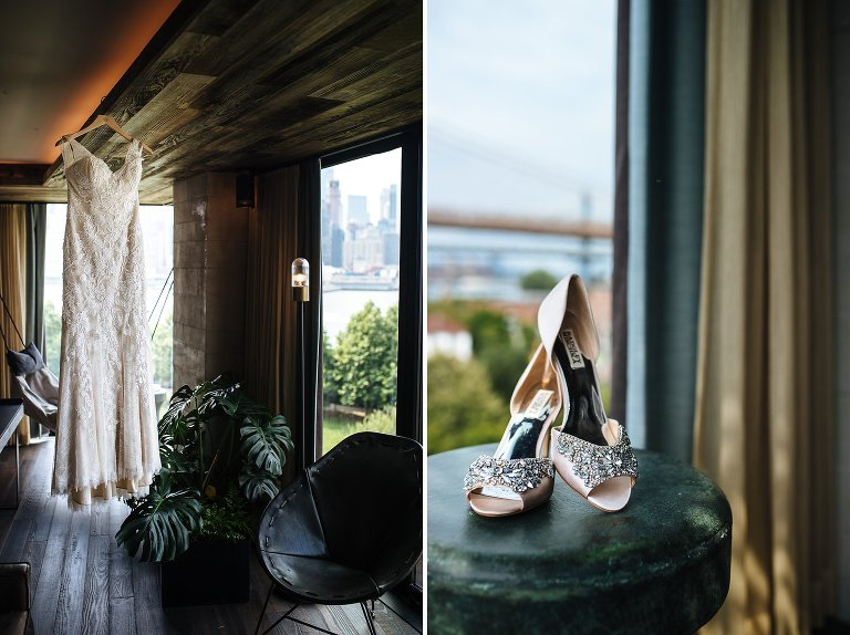 The bride's BHLDN wedding dress and Badgley Mischka bridal shoes