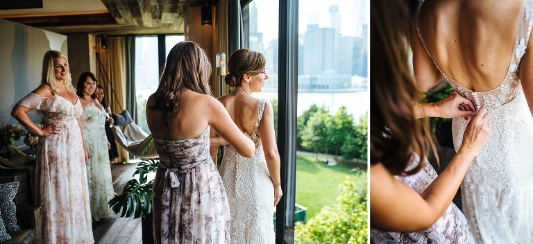 The bride's final moments of getting ready with her girls