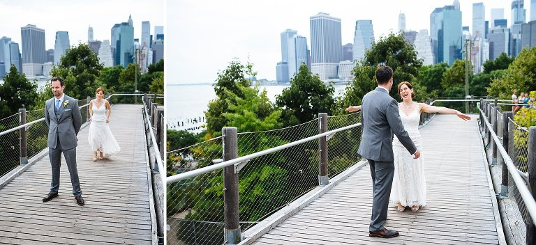 The wedding couple's first look in Brooklyn Bridge Park