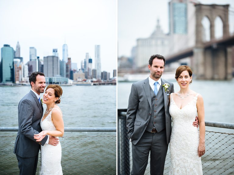 Wedding portraits on the Brooklyn waterfront in DUMBO