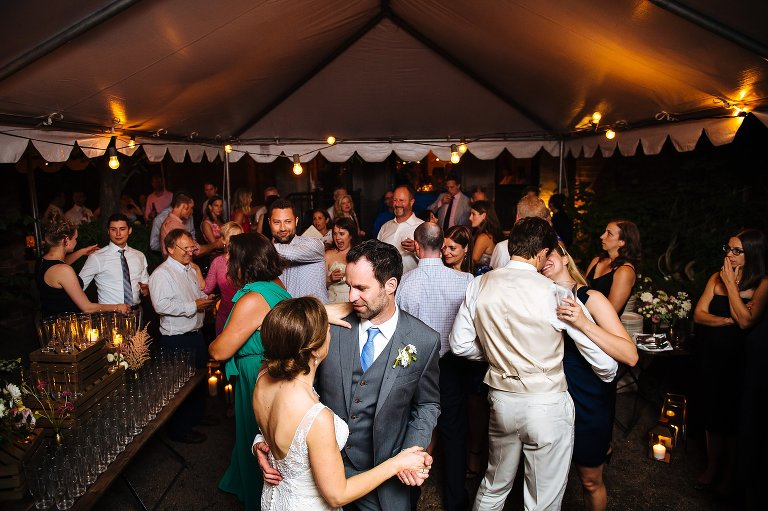 The wedding couple and guests dance to live jazz in Brooklyn