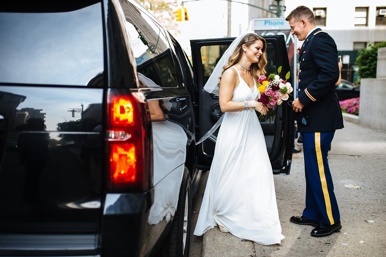 I love capturing the wedding couple exiting their car upon arriving at City Hall!