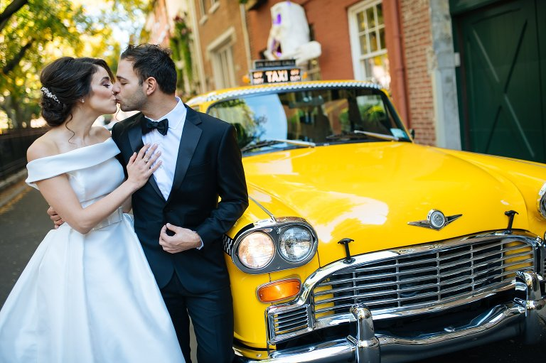 A classic Checker cab on the wedding day takes you around in style
