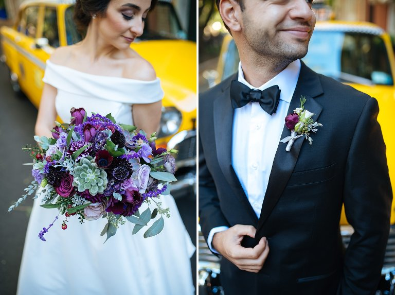 Details of Rebecca Shepherd Floral Design bridal bouquet and groom boutonniere