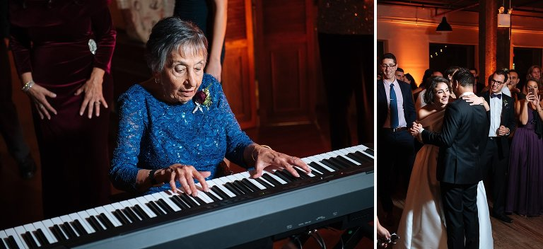 Grandmother of the groom plays the piano at the Liberty Warehouse wedding reception