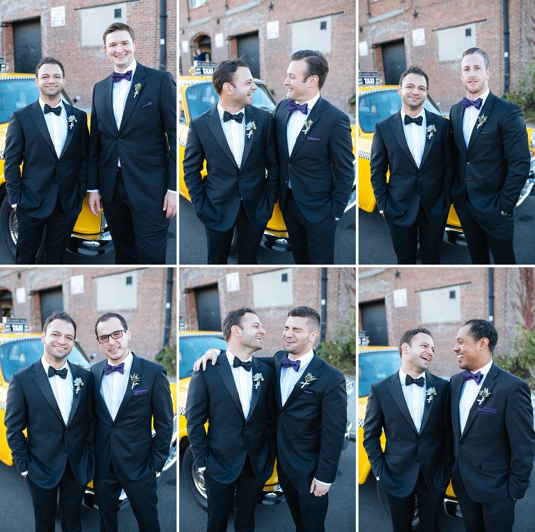 Wedding crew individual portraits with the groom before his Liberty Warehouse wedding