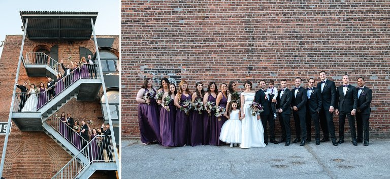 Wedding group photos outside Liberty Warehouse in Brooklyn