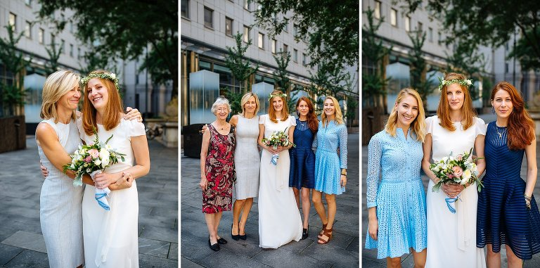 Bride with mom, grandmother, and sisters