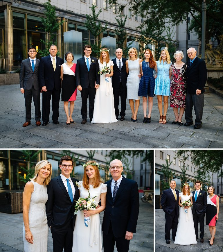 Family group photos on their City Hall wedding day
