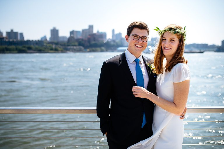 NYC elopement couple with Brooklyn in the background